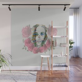 girl and flowers color Wall Mural