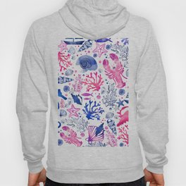 Hand painted blush pink blue watercolor nautical sea pattern Hoody