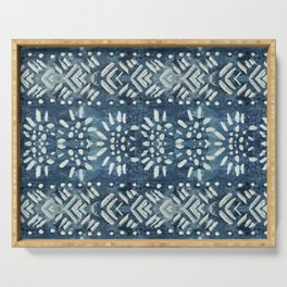 Vintage indigo inspired  flowers and lines Serving Tray