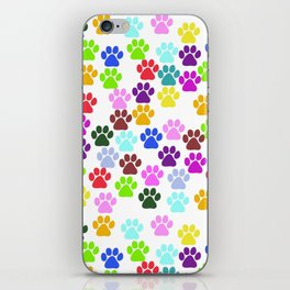Dog Paws, Trails, Paw-prints - Red Blue Green iPhone Skin