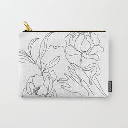 Minimal Line Art Woman with Peonies Carry-All Pouch