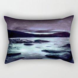 Magical Mountain Lake Dark Lavender Teal Rectangular Pillow