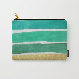 Gold and Green Stripes Carry-All Pouch