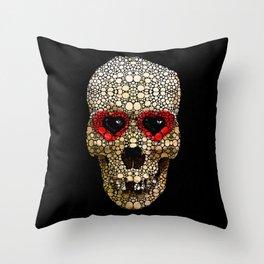 Skull Art - Day Of The Dead 3 Stone Rock'd Throw Pillow