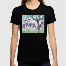 tree swallows & irises T-shirt
