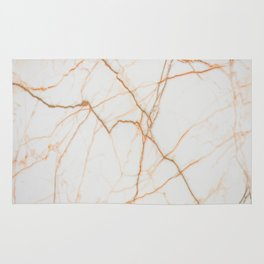 stylish minimalist trendy chic rose gold white marble Rug