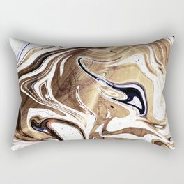 Metallic Gold Purple White Marble Swirl Rectangular Pillow