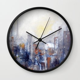 ABSTRACT CITYSCAPE MODERN PAINTING Wall Clock