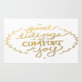 Gold Typography Holiday Christmas Wreath Brushstroke Watercolor Ink Tidings Joy Love Rug