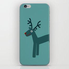 Reindeer-Teal iPhone Skin