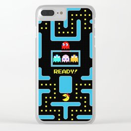 pac-man blue Clear iPhone Case
