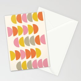 Cute Geometric Shapes Pattern in Pink Orange and Yellow Stationery Cards