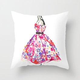 Floral Dress Throw Pillow