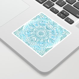 Turquoise Blue, Teal & White Protea Doodle Pattern Sticker