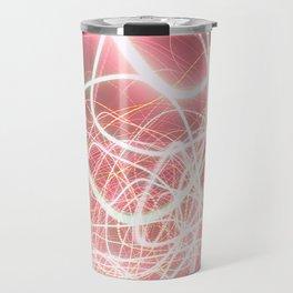 Neon Pink Light Streaks Travel Mug