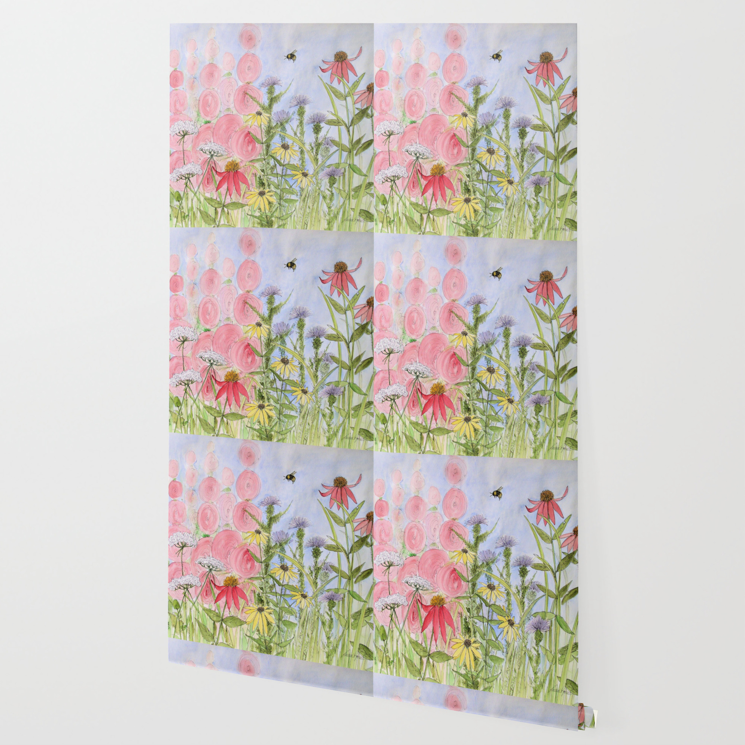 Botanical Floral Watercolor Pink Blue Yellow Flowers Blue Skies