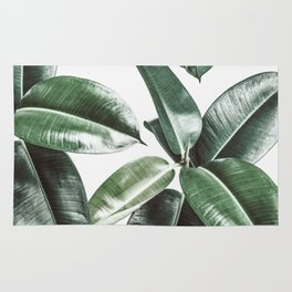 Tropical Leaves Pattern | Dark Green Leaves Photography Rug