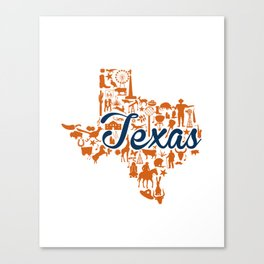 UT Austin Texas Landmark State - Blue and Orange UT Theme Canvas Print