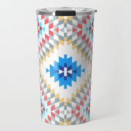 Colorful patchwork mosaic oriental kilim rug with traditional folk geometric ornament Travel Mug