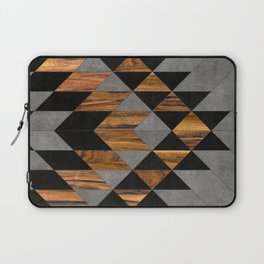 Urban Tribal Pattern No.10 - Aztec - Concrete and Wood Laptop Sleeve