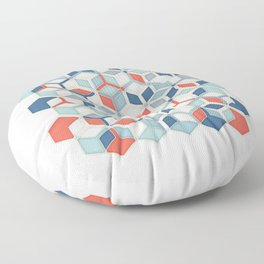 Soft Red, White & Blue Hexagon Pattern Play Floor Pillow
