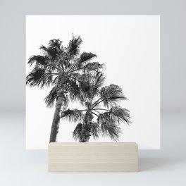 B&W Palm Tree Print | Black and White Summer Sky Beach Surfing Photography Art Mini Art Print