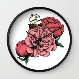 Sailing a Sea of Peonies - Pink Wall Clock