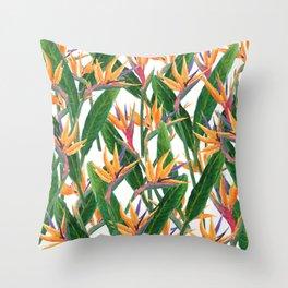bird of paradise pattern Throw Pillow