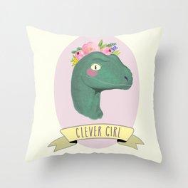 Clever Girl Dinosaur / Jurassic Park / Gift for Her / Boho Baby Animal Nursery Decor / Feminist Throw Pillow