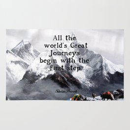 All the world's Great Journeys Motivational Tibetan Proverb With Panoramic View Of Everest Mountain Rug