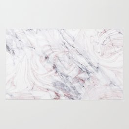 Touch of Rose White & Grey Marble Swirl Rug
