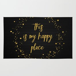 Text Art THIS IS MY HAPPY PLACE III | black with hearts, stars & splashes Rug