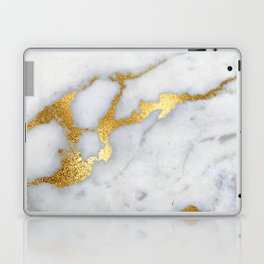 White and Gray Marble and Gold Metal foil Glitter Effect Laptop & iPad Skin