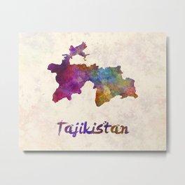 Tajikistan in watercolor Metal Print