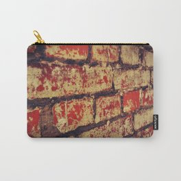 red and white, weathered, Brick Wall Carry-All Pouch