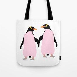 Gay Pride Lesbian Penguins Holding Hands Tote Bag