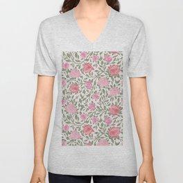 Modern Vintage Chic Blush Pink Forest Green Floral Unisex V-Neck