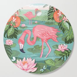 Flamingo and Waterlily Cutting Board