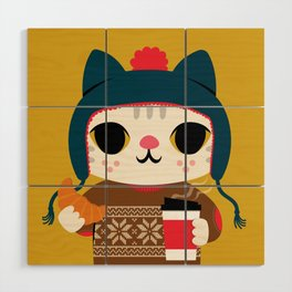 Holiday - Cat in a Sweater / Mustard Yellow Wood Wall Art