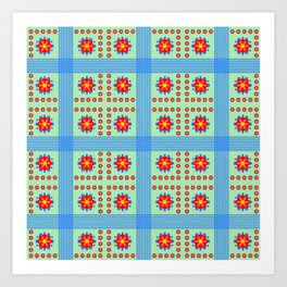 Striped light blue and green background with flowers kl Art Print