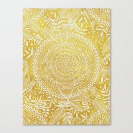 Medallion Pattern in Mustard and Cream Canvas Print