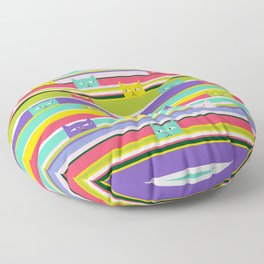 Colorful Peeking Cats on stripes Floor Pillow