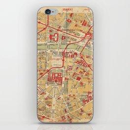 Paris City Centre Map - Vintage Full Color iPhone Skin