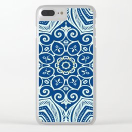 Blue and Gold  flowers pattern Clear iPhone Case
