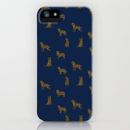 Navy & Gold Puppies iPhone Case