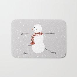 Snowman yoga - Warrior II Bath Mat