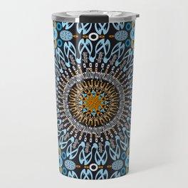 Calligraphic Boho (Blue) Travel Mug