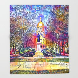 Father Sorin Statue on Notre Dame Main Quad Throw Blanket
