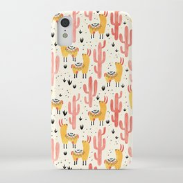Yellow Llamas Red Cacti iPhone Case