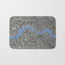 Map of London Thames Drawing Bath Mat